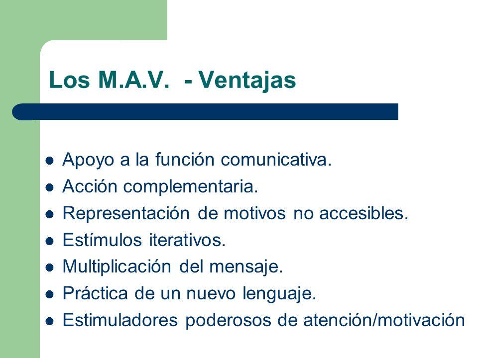 Los M.A.V. - Ventajas Apoyo a la función comunicativa. Acción complementaria. Representación de motivos no accesibles. Estímulos iterativos. Multiplic