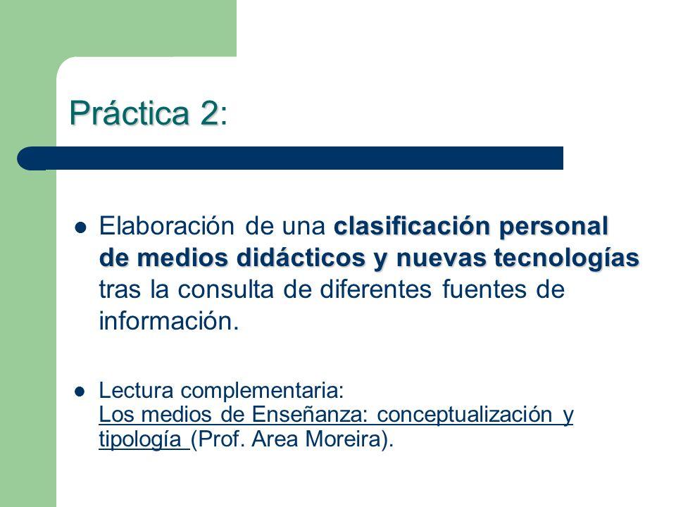 Práctica 2 Práctica 2: clasificación personal de medios didácticos y nuevas tecnologías Elaboración de una clasificación personal de medios didácticos