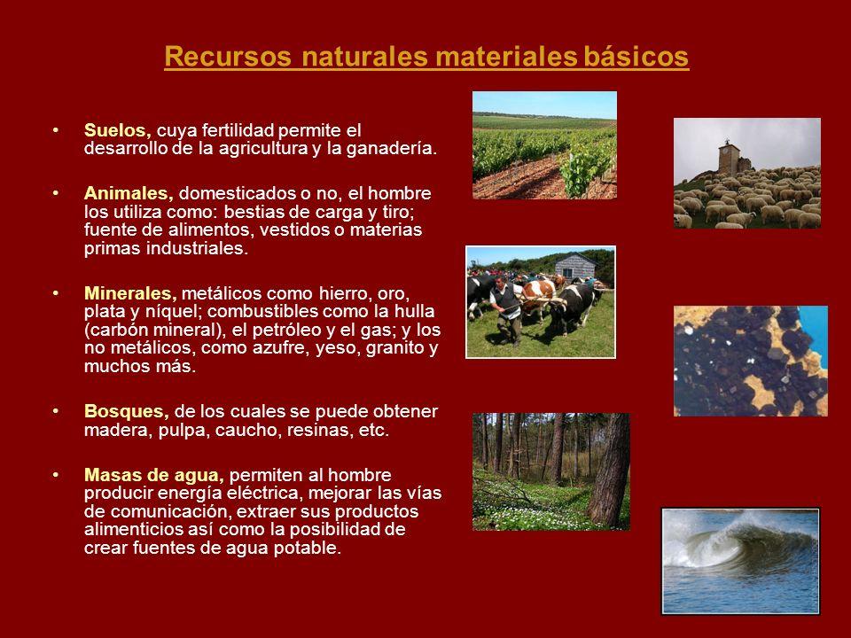 Recursos naturales materiales básicos Suelos, cuya fertilidad permite el desarrollo de la agricultura y la ganadería. Animales, domesticados o no, el