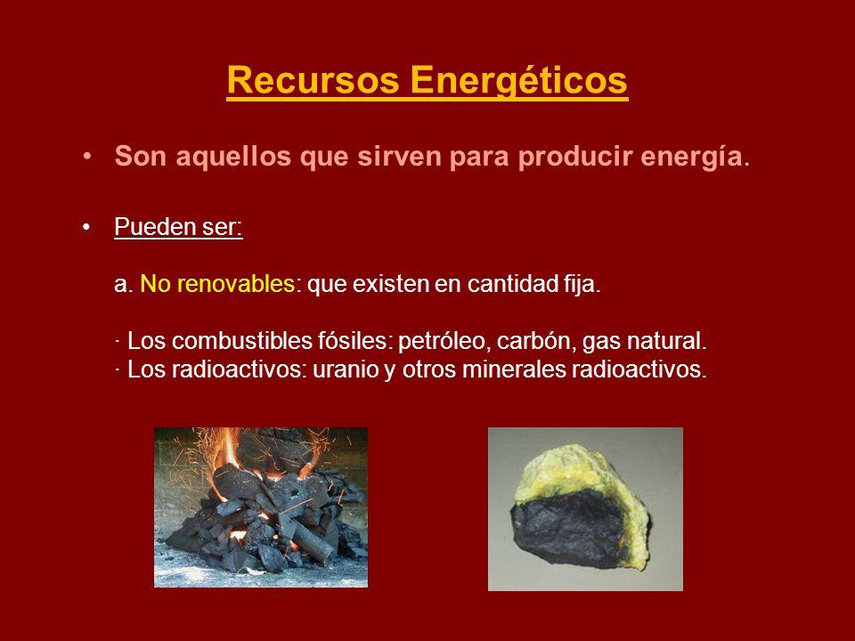 Recursos Energéticos Son aquellos que sirven para producir energía. Pueden ser: a. No renovables: que existen en cantidad fija. · Los combustibles fós