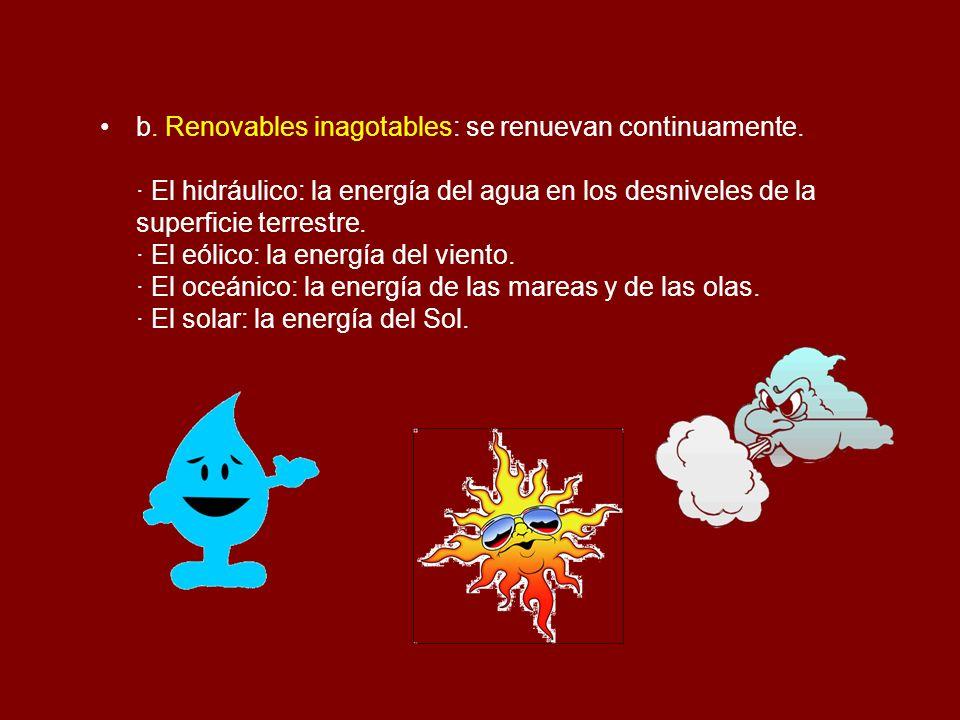 b. Renovables inagotables: se renuevan continuamente. · El hidráulico: la energía del agua en los desniveles de la superficie terrestre. · El eólico: