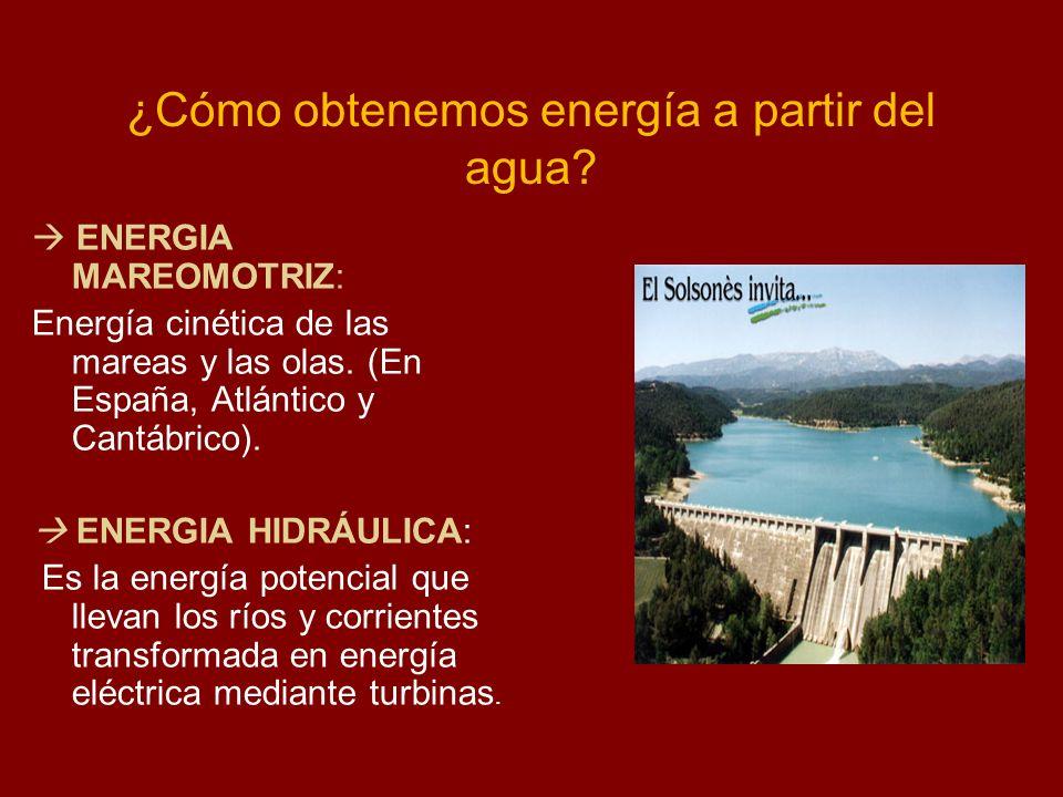 ¿Cómo obtenemos energía a partir del agua? ENERGIA MAREOMOTRIZ: Energía cinética de las mareas y las olas. (En España, Atlántico y Cantábrico). ENERGI