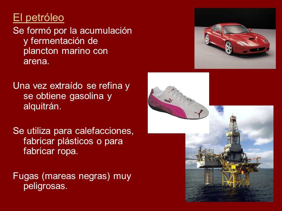 El petróleo Se formó por la acumulación y fermentación de plancton marino con arena. Una vez extraído se refina y se obtiene gasolina y alquitrán. Se