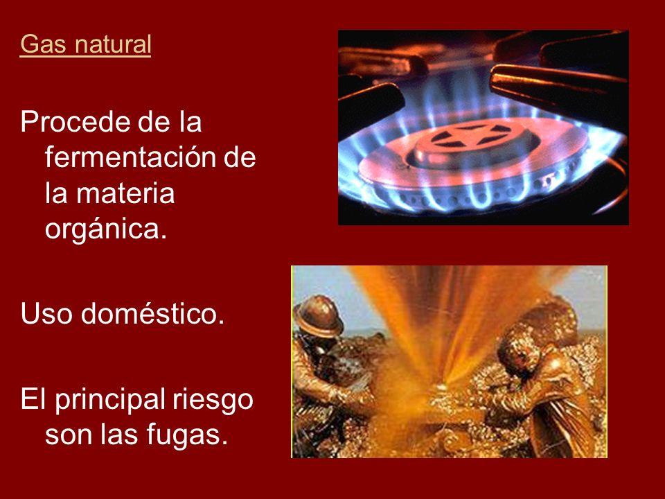 Gas natural Procede de la fermentación de la materia orgánica. Uso doméstico. El principal riesgo son las fugas.