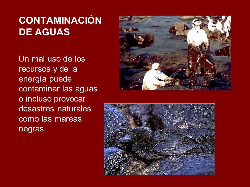CONTAMINACIÓN DE AGUAS Un mal uso de los recursos y de la energía puede contaminar las aguas o incluso provocar desastres naturales como las mareas ne