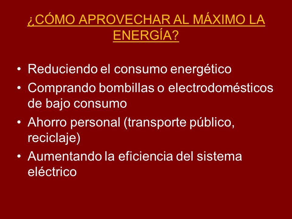 ¿CÓMO APROVECHAR AL MÁXIMO LA ENERGÍA? Reduciendo el consumo energético Comprando bombillas o electrodomésticos de bajo consumo Ahorro personal (trans