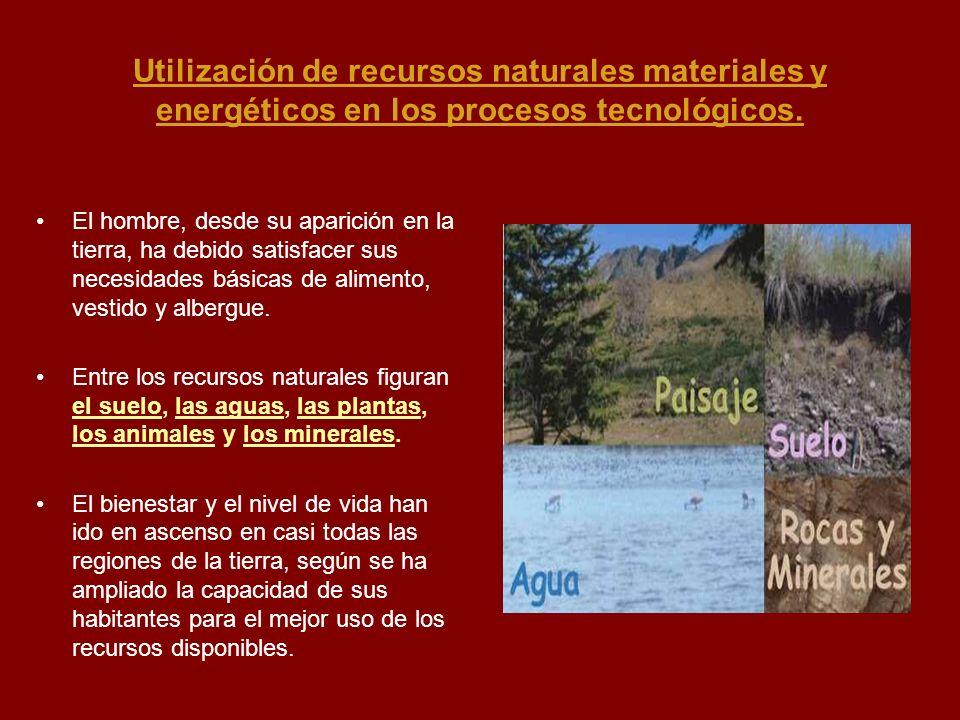 Utilización de recursos naturales materiales y energéticos en los procesos tecnológicos. El hombre, desde su aparición en la tierra, ha debido satisfa