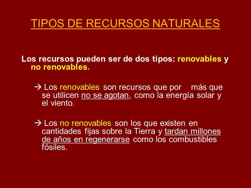 TIPOS DE RECURSOS NATURALES Los recursos pueden ser de dos tipos: renovables y no renovables. Los renovables son recursos que por más que se utilicen