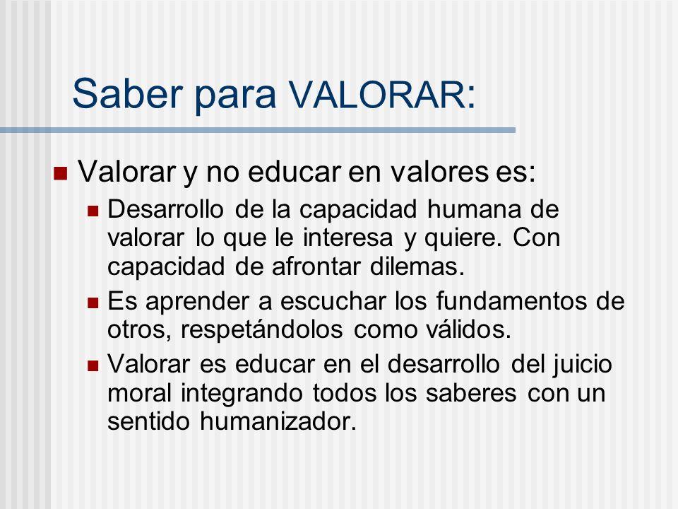 Saber para VALORAR : Valorar y no educar en valores es: Desarrollo de la capacidad humana de valorar lo que le interesa y quiere. Con capacidad de afr