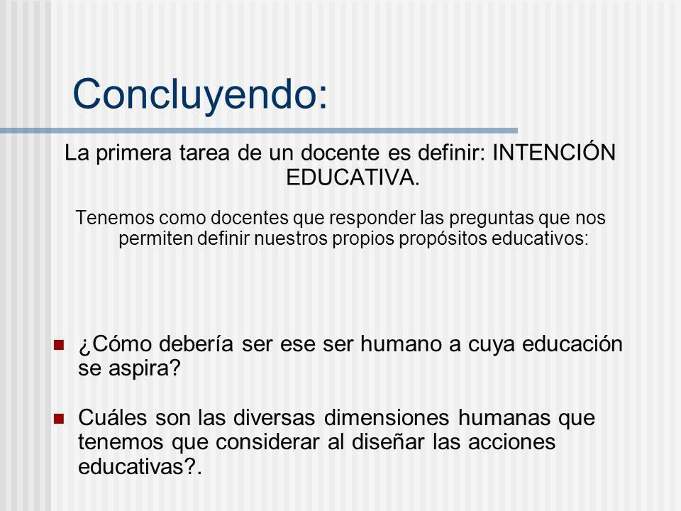 Concluyendo: La primera tarea de un docente es definir: INTENCIÓN EDUCATIVA. Tenemos como docentes que responder las preguntas que nos permiten defini
