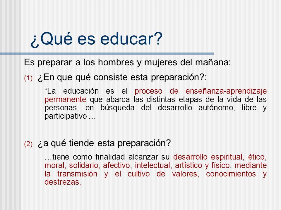 ¿Qué es educar? Es preparar a los hombres y mujeres del mañana: (1) ¿En que qué consiste esta preparación?: La educación es el proceso de enseñanza-ap