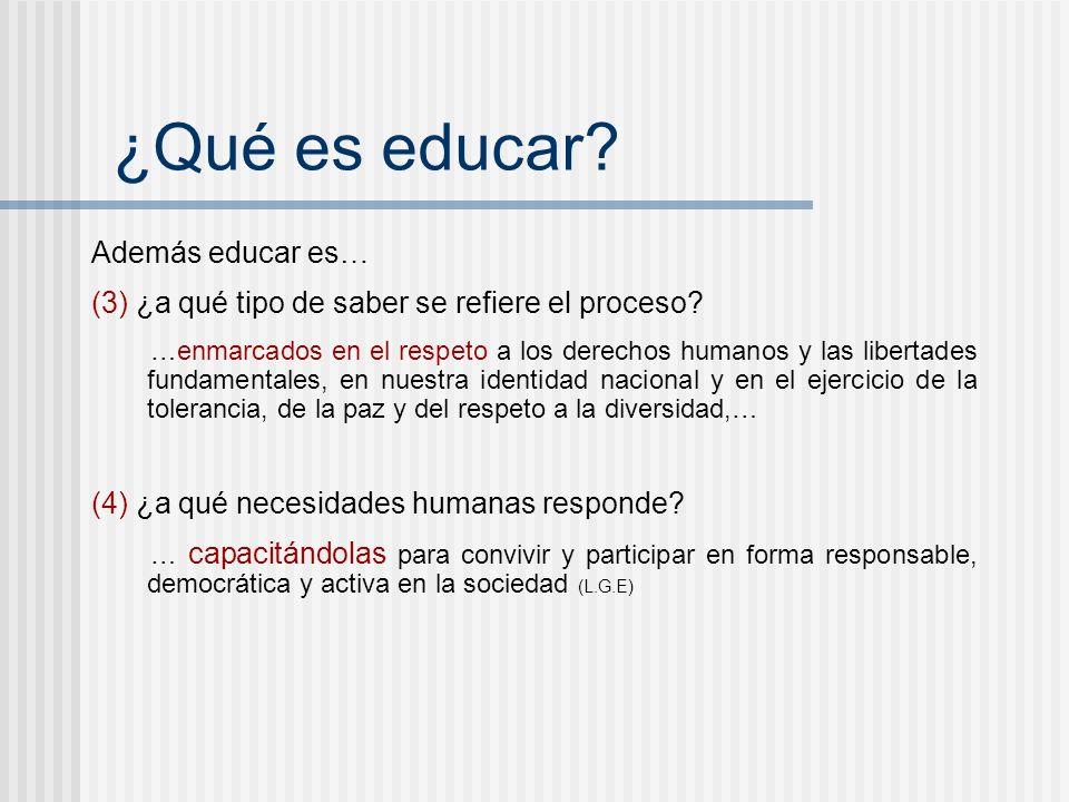 ¿Qué es educar? Además educar es… (3) ¿a qué tipo de saber se refiere el proceso? …enmarcados en el respeto a los derechos humanos y las libertades fu