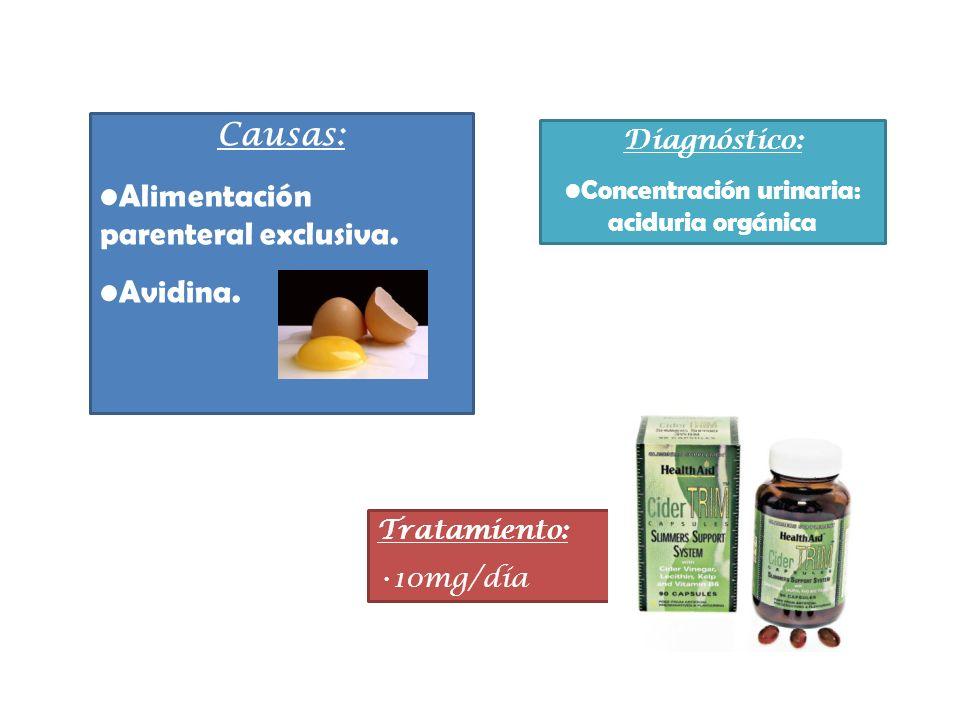 Diagnóstico: Concentración urinaria: aciduria orgánica Tratamiento: 10mg/día Causas: Alimentación parenteral exclusiva. Avidina.