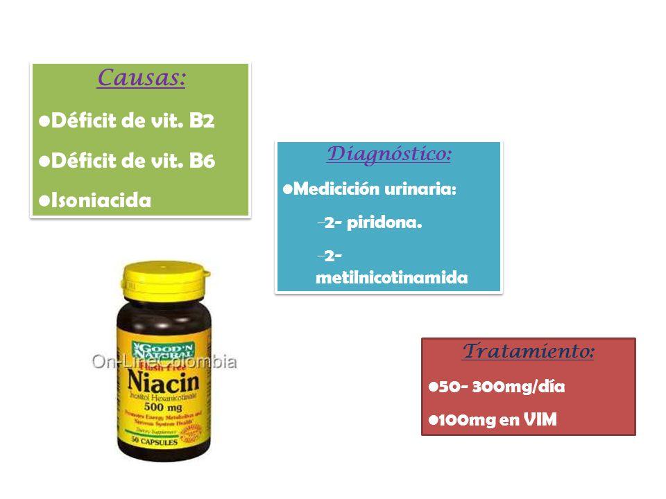 Tratamiento: 50- 300mg/día 100mg en VIM Causas: Déficit de vit. B2 Déficit de vit. B6 Isoniacida Causas: Déficit de vit. B2 Déficit de vit. B6 Isoniac