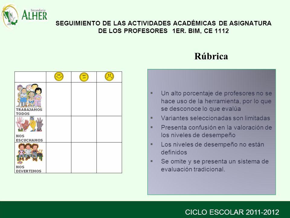 SEGUIMIENTO DE LAS ACTIVIDADES ACADÉMICAS DE ASIGNATURA DE LOS PROFESORES 1ER.