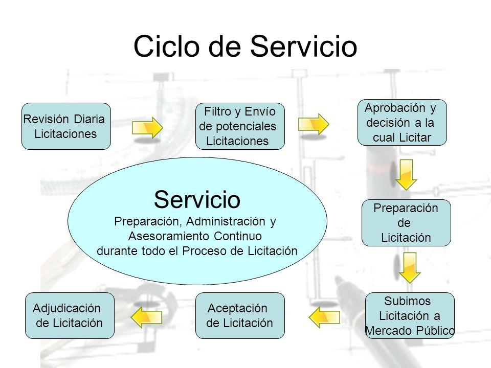 Ciclo de Servicio Revisión Diaria Licitaciones Filtro y Envío de potenciales Licitaciones Aprobación y decisión a la cual Licitar Preparación de Licit