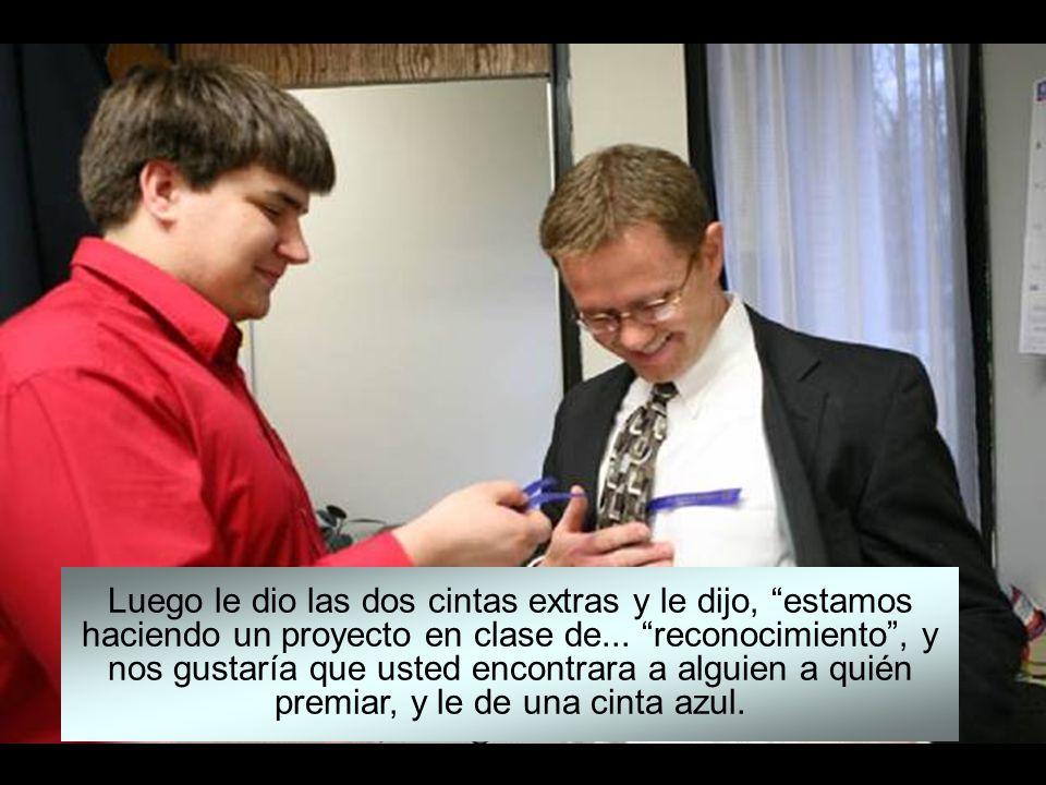 Uno de los alumnos, fue a ver a un joven ejecutivo de una industria cercana, y lo premió por ayudarle con la planificación de su carrera. Le dio una c