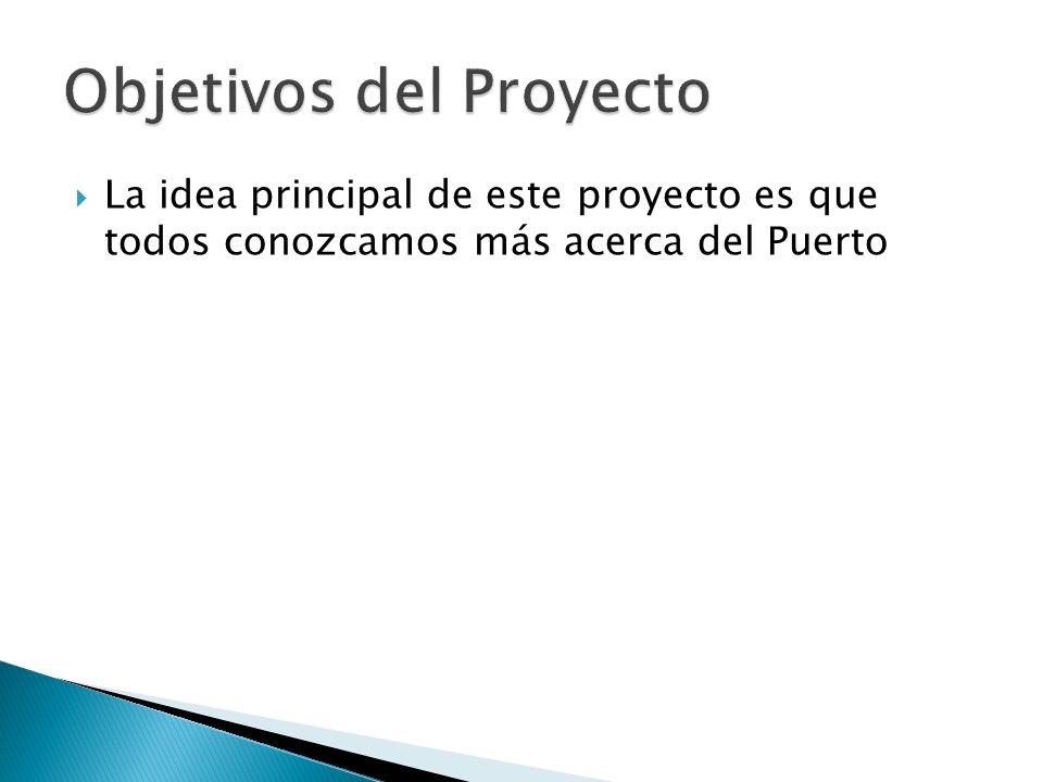 La idea principal de este proyecto es que todos conozcamos más acerca del Puerto