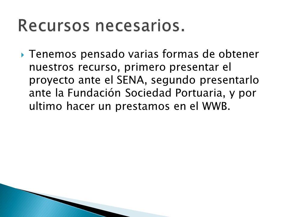 Tenemos pensado varias formas de obtener nuestros recurso, primero presentar el proyecto ante el SENA, segundo presentarlo ante la Fundación Sociedad Portuaria, y por ultimo hacer un prestamos en el WWB.