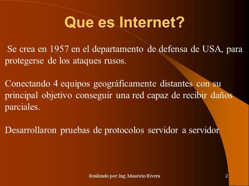 Realizado por: Ing. Mauricio Rivera2 Que es Internet.