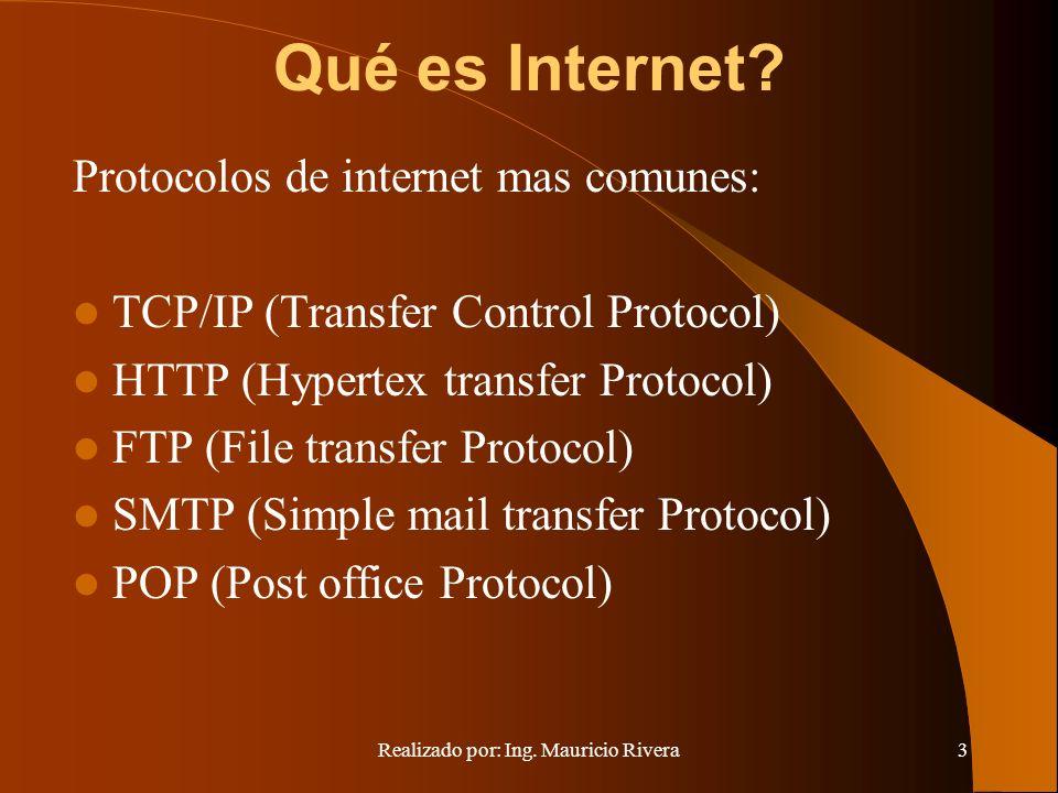 Realizado por: Ing. Mauricio Rivera3 Qué es Internet.