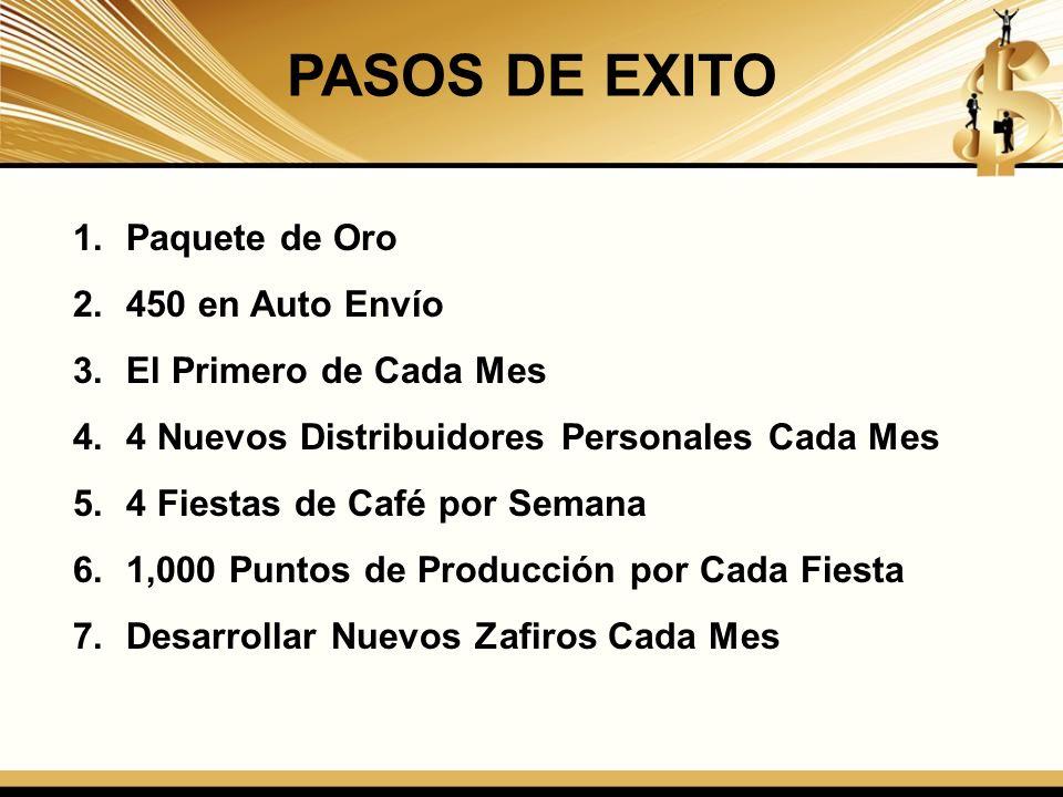 PASOS DE EXITO 1.Paquete de Oro 2.450 en Auto Envío 3.El Primero de Cada Mes 4.4 Nuevos Distribuidores Personales Cada Mes 5.4 Fiestas de Café por Sem