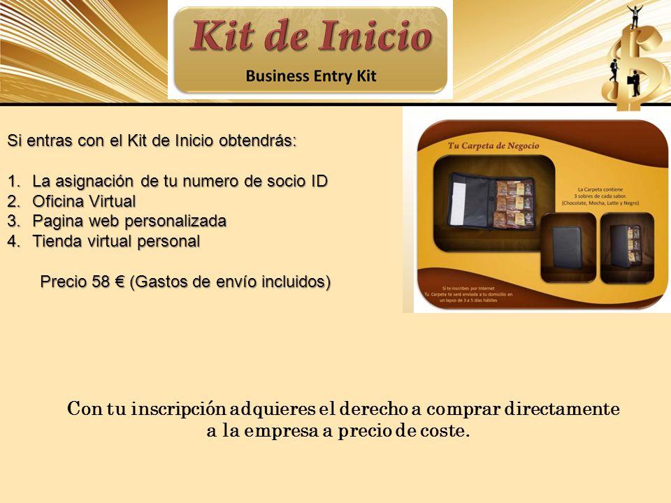 Si entras con el Kit de Inicio obtendrás: 1.La asignación de tu numero de socio ID 2.Oficina Virtual 3.Pagina web personalizada 4.Tienda virtual perso
