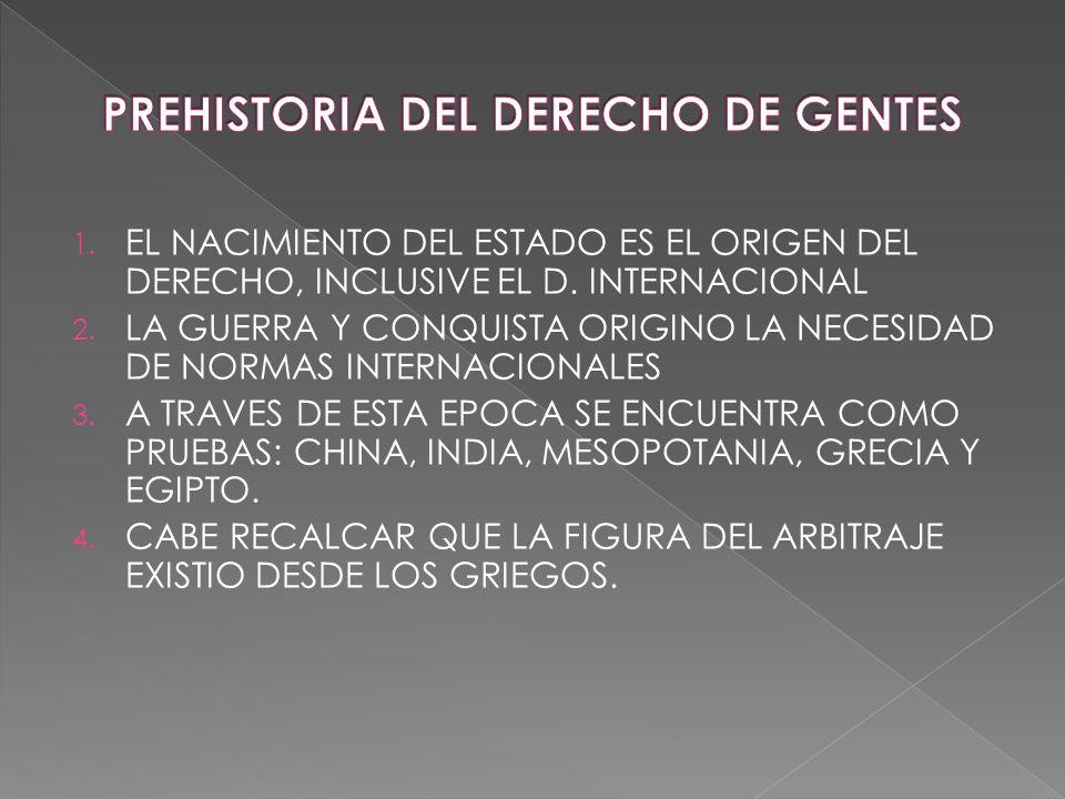 1. EL NACIMIENTO DEL ESTADO ES EL ORIGEN DEL DERECHO, INCLUSIVE EL D. INTERNACIONAL 2. LA GUERRA Y CONQUISTA ORIGINO LA NECESIDAD DE NORMAS INTERNACIO