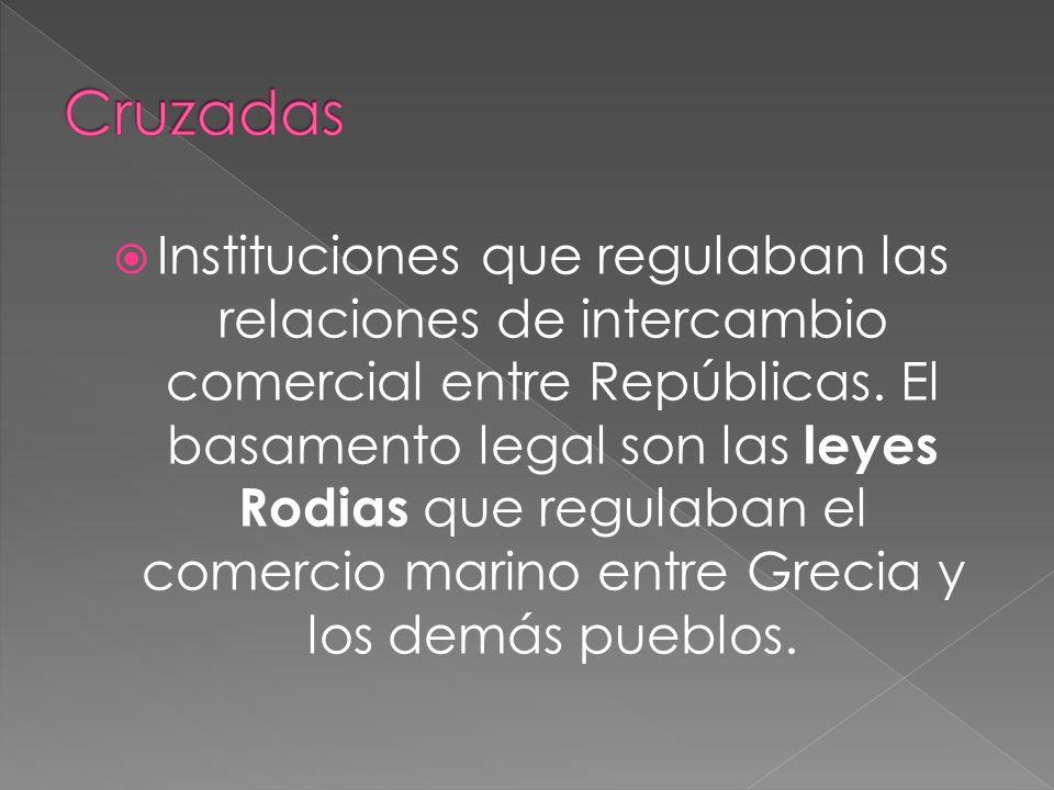 Instituciones que regulaban las relaciones de intercambio comercial entre Repúblicas. El basamento legal son las leyes Rodias que regulaban el comerci