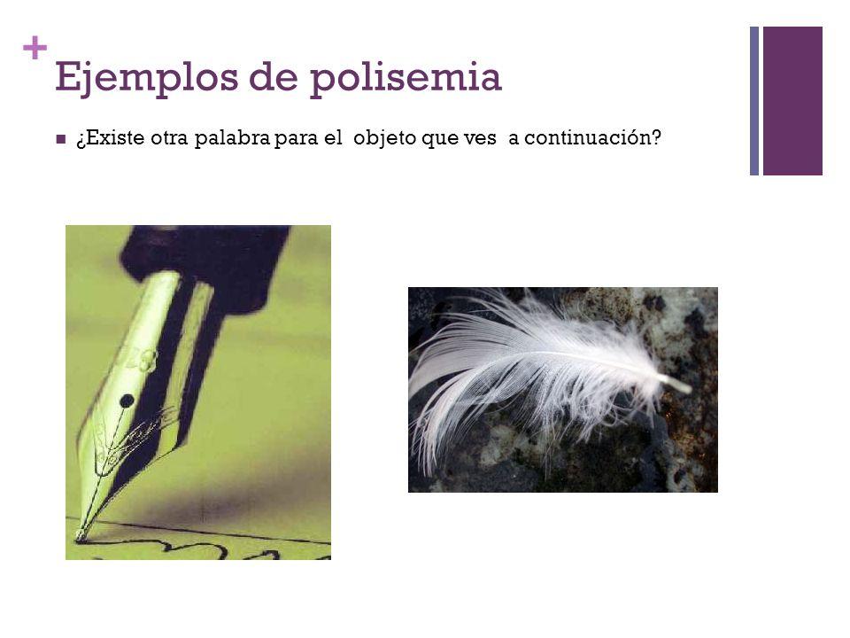 + Ejemplos de polisemia ¿Existe otra palabra para el objeto que ves a continuación?