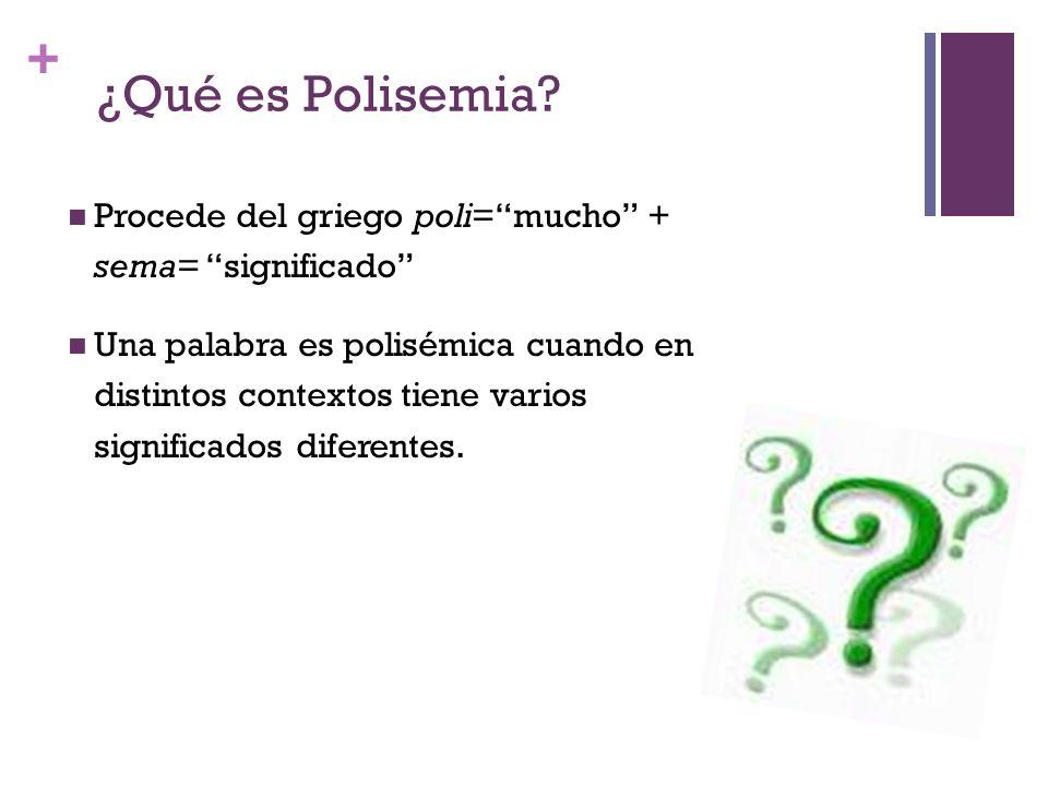 + ¿Qué es Polisemia? Procede del griego poli=mucho + sema= significado Una palabra es polisémica cuando en distintos contextos tiene varios significad