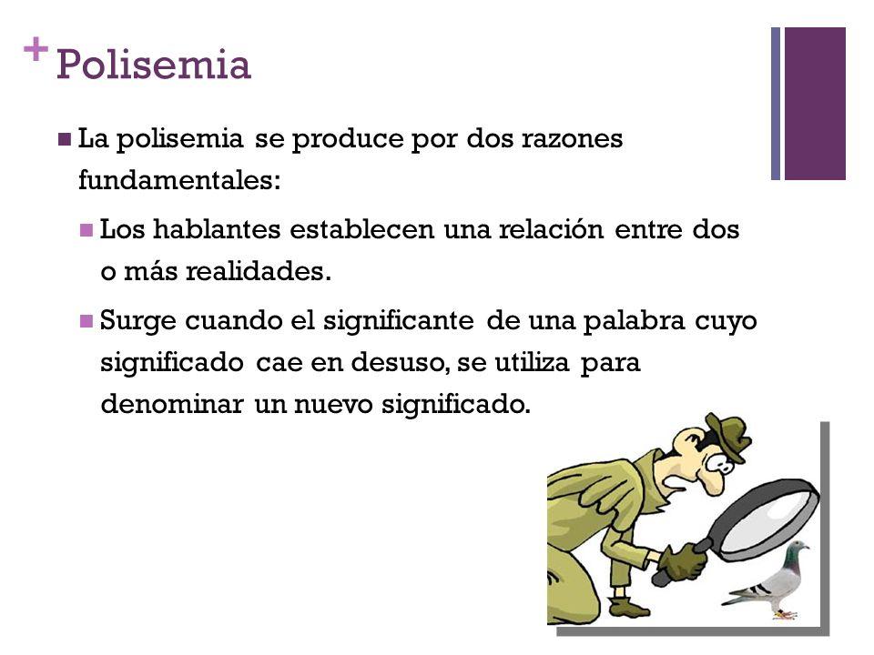 + Polisemia La polisemia se produce por dos razones fundamentales: Los hablantes establecen una relación entre dos o más realidades. Surge cuando el s