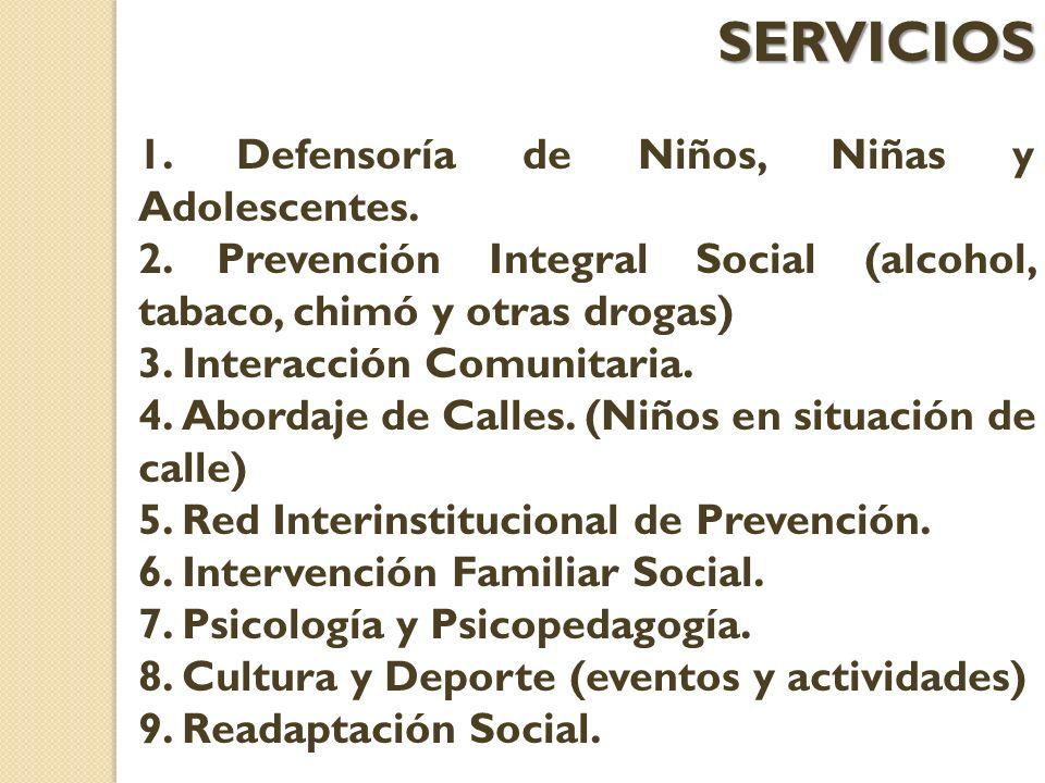 SERVICIOS 1. Defensoría de Niños, Niñas y Adolescentes. 2. Prevención Integral Social (alcohol, tabaco, chimó y otras drogas) 3. Interacción Comunitar