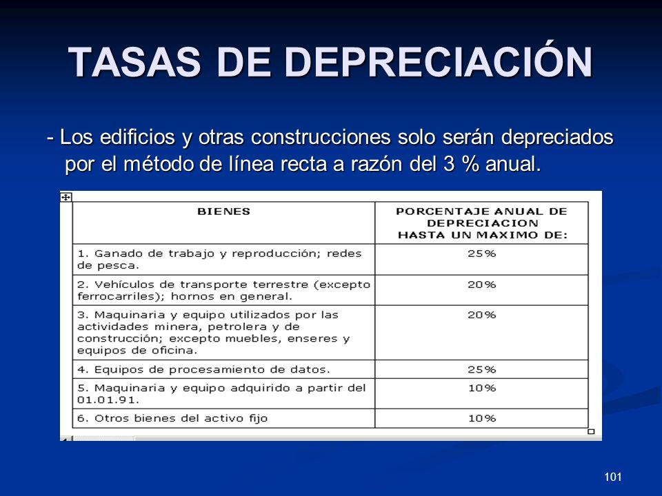 101 TASAS DE DEPRECIACIÓN - Los edificios y otras construcciones solo serán depreciados por el método de línea recta a razón del 3 % anual. - Los edif