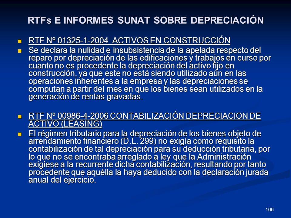 106 RTFs E INFORMES SUNAT SOBRE DEPRECIACIÓN RTF Nº 01325-1-2004 ACTIVOS EN CONSTRUCCIÓN RTF Nº 01325-1-2004 ACTIVOS EN CONSTRUCCIÓN Se declara la nul