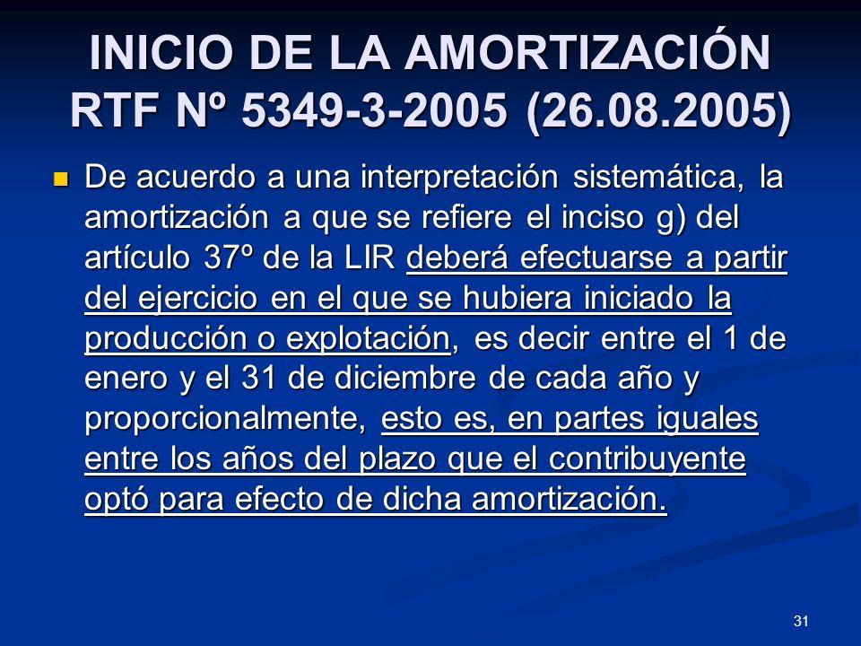 31 INICIO DE LA AMORTIZACIÓN RTF Nº 5349-3-2005 (26.08.2005) De acuerdo a una interpretación sistemática, la amortización a que se refiere el inciso g