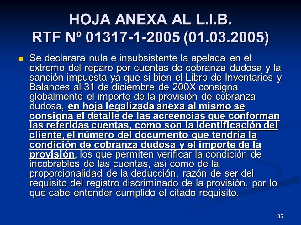 35 HOJA ANEXA AL L.I.B. RTF Nº 01317-1-2005 (01.03.2005) Se declarara nula e insubsistente la apelada en el extremo del reparo por cuentas de cobranza