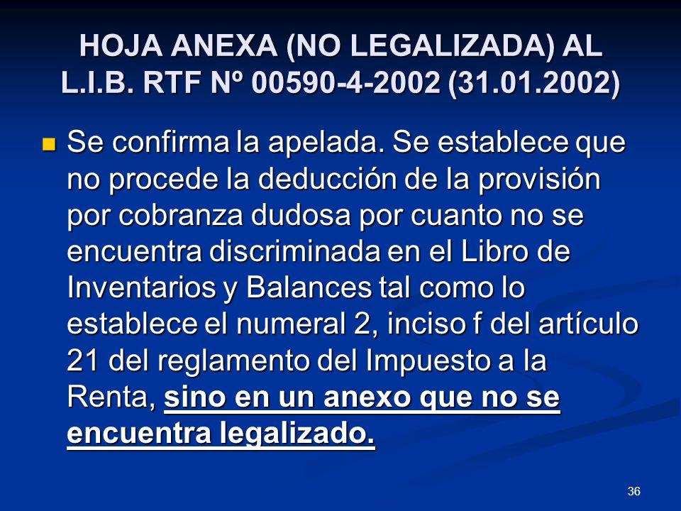 36 HOJA ANEXA (NO LEGALIZADA) AL L.I.B. RTF Nº 00590-4-2002 (31.01.2002) Se confirma la apelada. Se establece que no procede la deducción de la provis