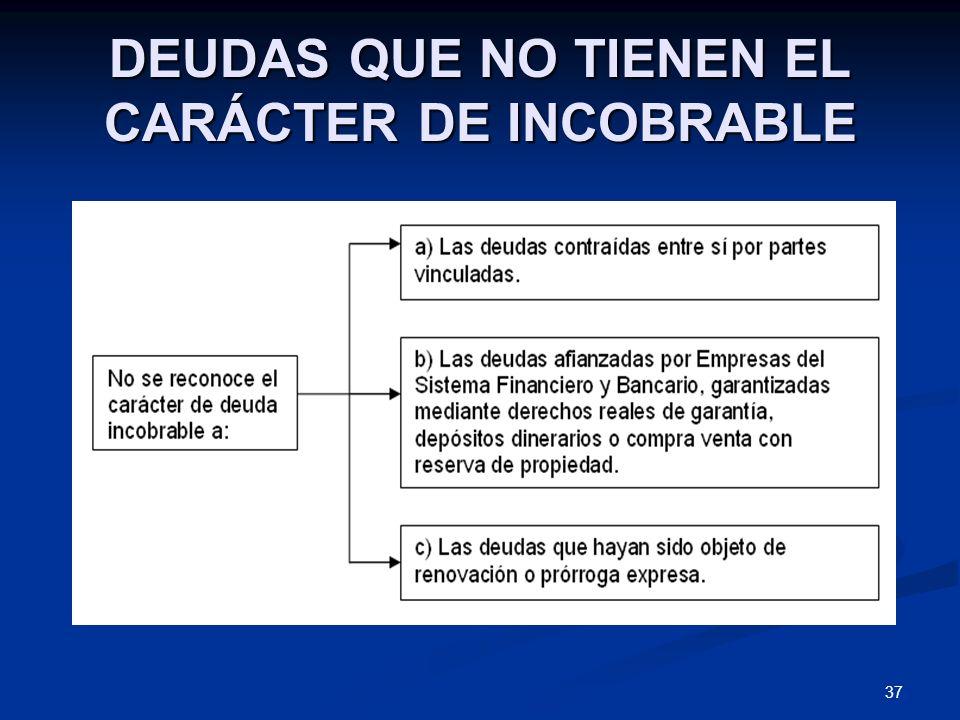 37 DEUDAS QUE NO TIENEN EL CARÁCTER DE INCOBRABLE