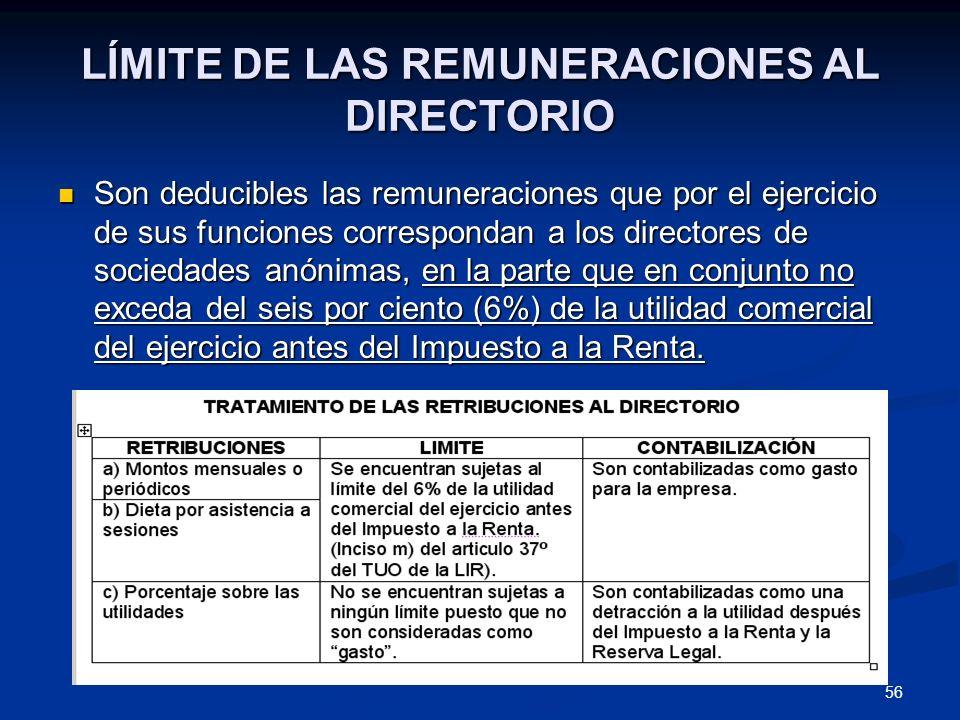 56 LÍMITE DE LAS REMUNERACIONES AL DIRECTORIO Son deducibles las remuneraciones que por el ejercicio de sus funciones correspondan a los directores de