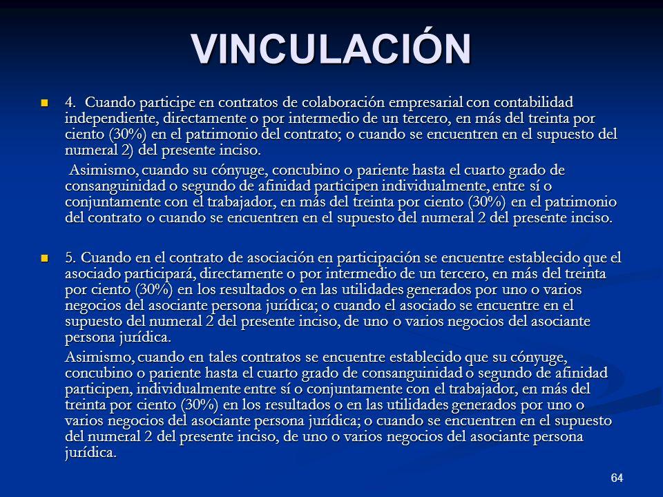 64 VINCULACIÓN 4. Cuando participe en contratos de colaboración empresarial con contabilidad independiente, directamente o por intermedio de un tercer