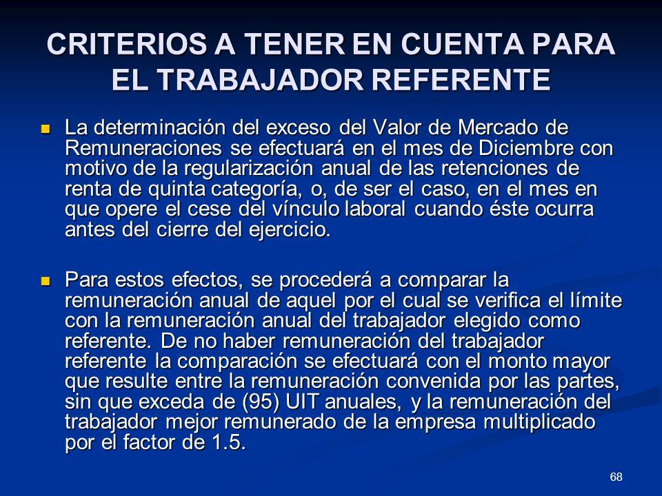 68 CRITERIOS A TENER EN CUENTA PARA EL TRABAJADOR REFERENTE La determinación del exceso del Valor de Mercado de Remuneraciones se efectuará en el mes