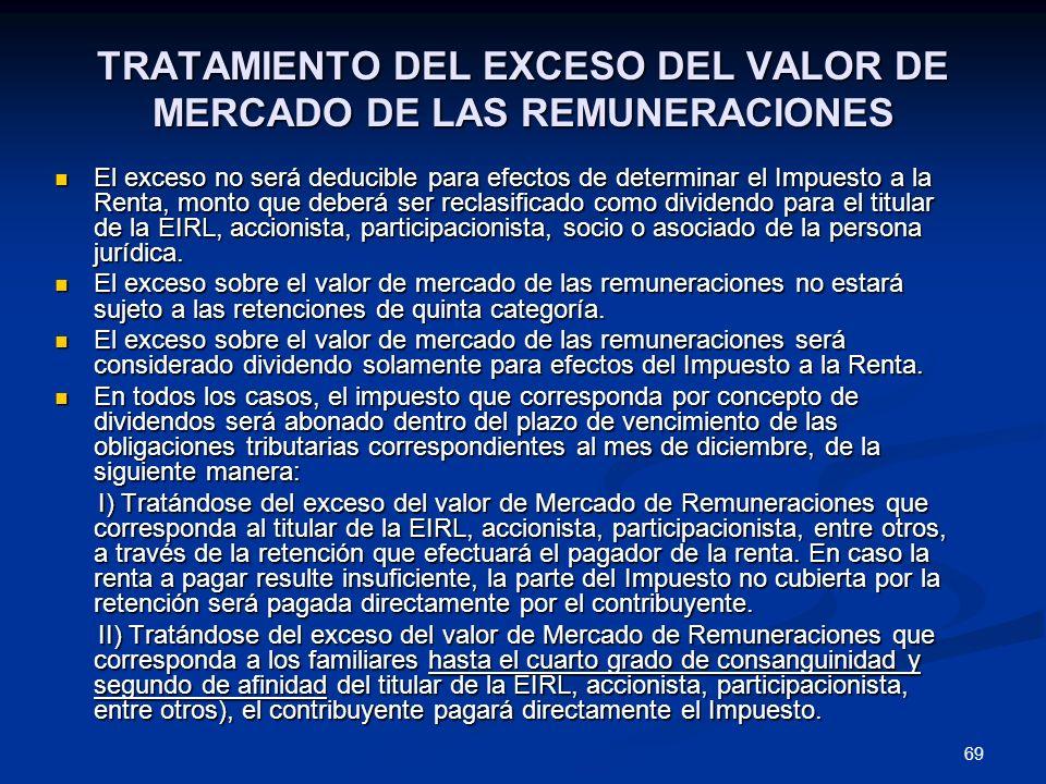 69 TRATAMIENTO DEL EXCESO DEL VALOR DE MERCADO DE LAS REMUNERACIONES El exceso no será deducible para efectos de determinar el Impuesto a la Renta, mo