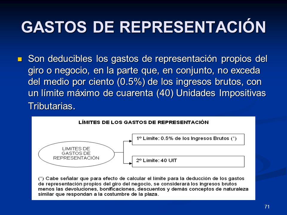 71 GASTOS DE REPRESENTACIÓN Son deducibles los gastos de representación propios del giro o negocio, en la parte que, en conjunto, no exceda del medio