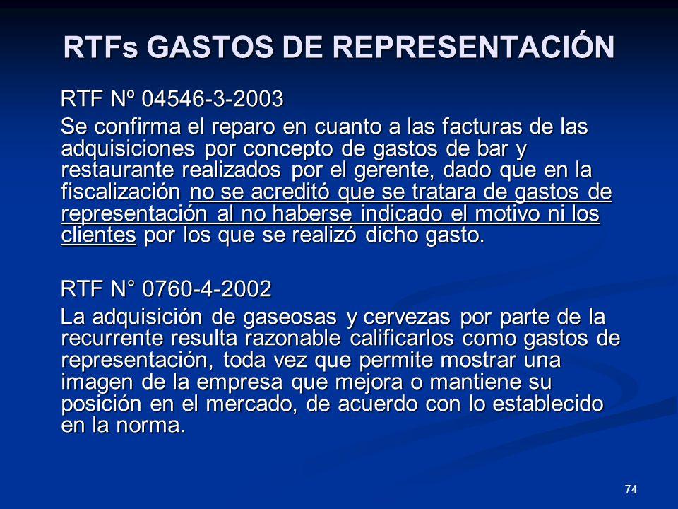 74 RTFs GASTOS DE REPRESENTACIÓN RTF Nº 04546-3-2003 RTF Nº 04546-3-2003 Se confirma el reparo en cuanto a las facturas de las adquisiciones por conce