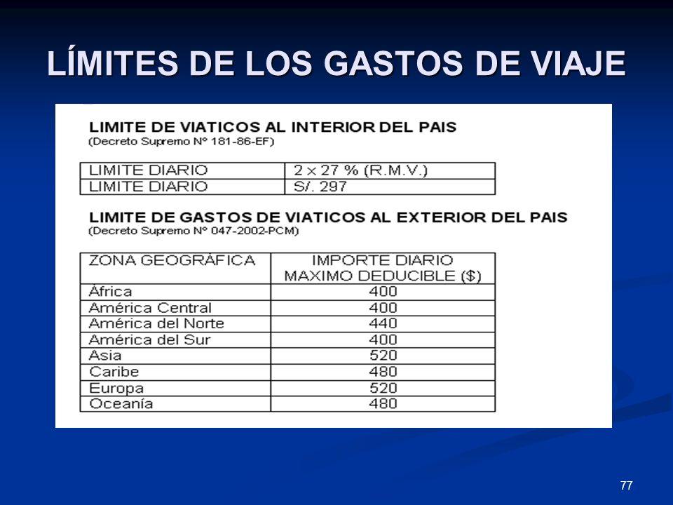 77 LÍMITES DE LOS GASTOS DE VIAJE