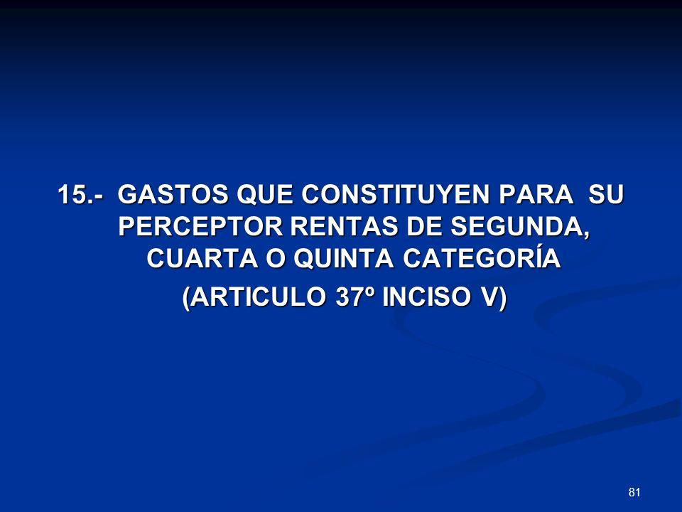 81 15.- GASTOS QUE CONSTITUYEN PARA SU PERCEPTOR RENTAS DE SEGUNDA, CUARTA O QUINTA CATEGORÍA (ARTICULO 37º INCISO V) (ARTICULO 37º INCISO V)
