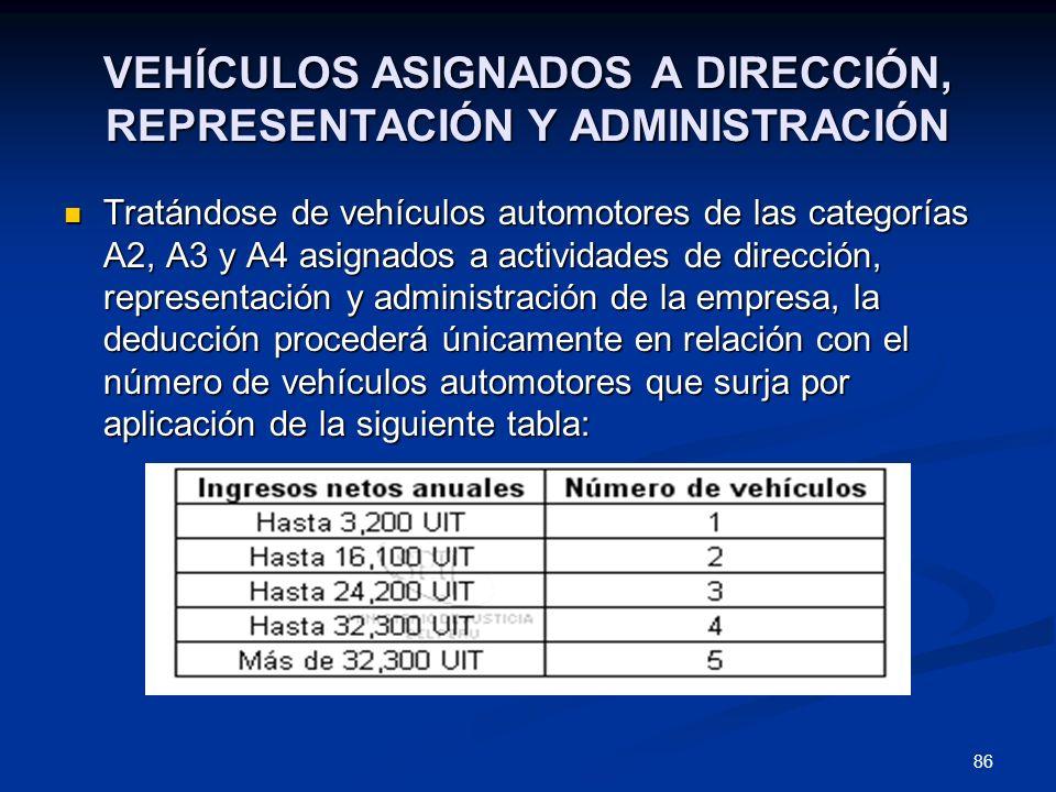86 VEHÍCULOS ASIGNADOS A DIRECCIÓN, REPRESENTACIÓN Y ADMINISTRACIÓN Tratándose de vehículos automotores de las categorías A2, A3 y A4 asignados a acti