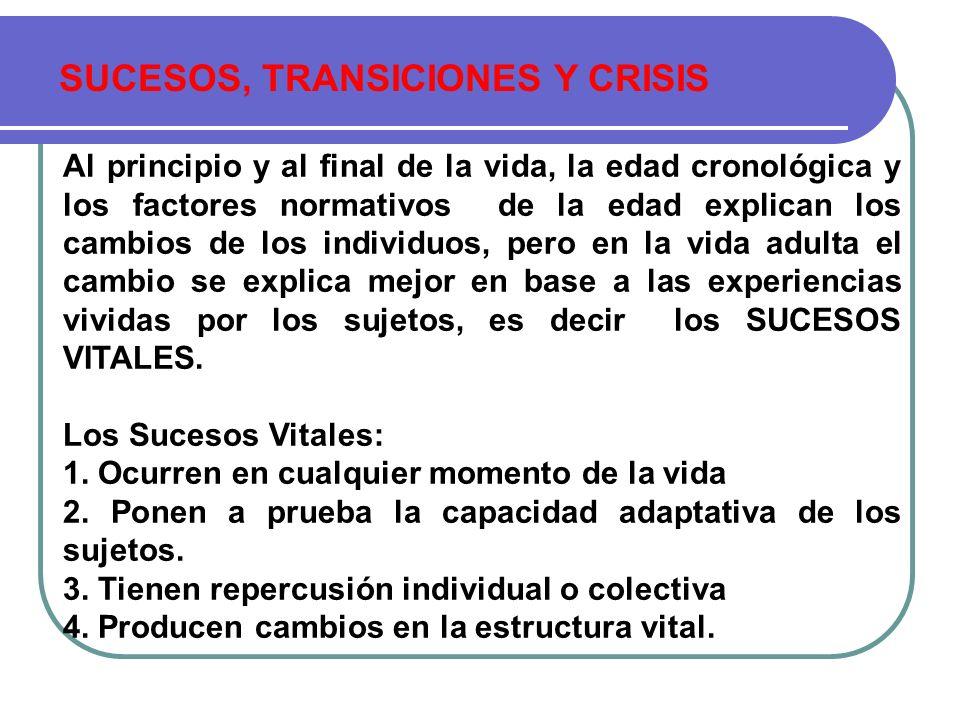 SUCESOS, TRANSICIONES Y CRISIS Al principio y al final de la vida, la edad cronológica y los factores normativos de la edad explican los cambios de lo