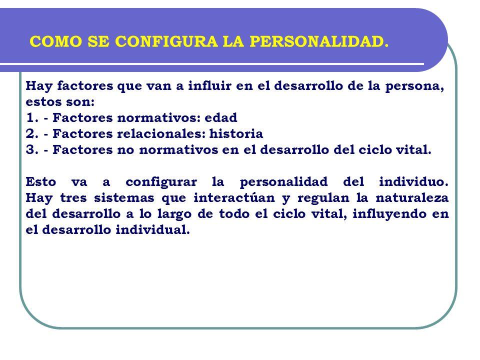 Hay factores que van a influir en el desarrollo de la persona, estos son: 1. - Factores normativos: edad 2. - Factores relacionales: historia 3. - Fac